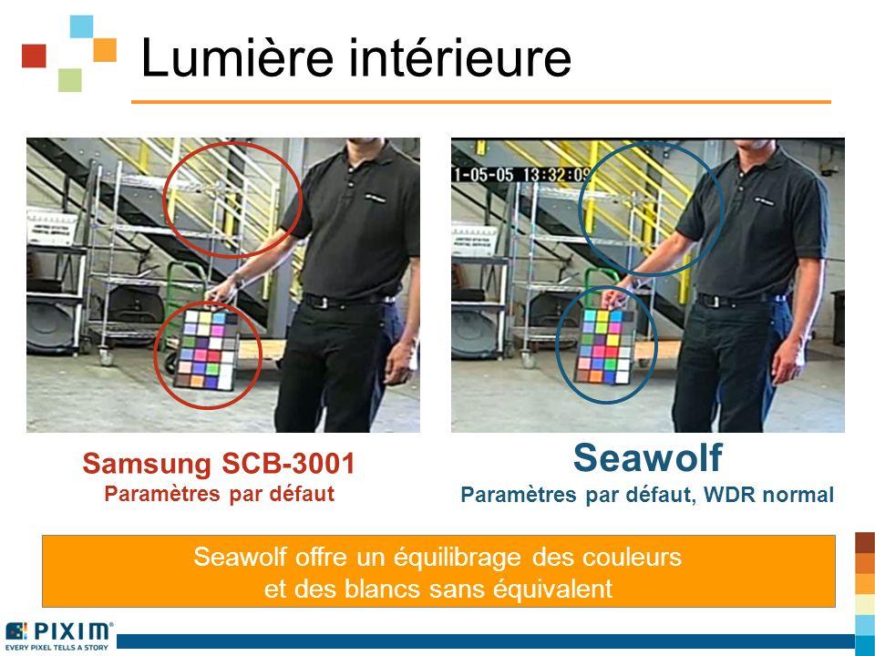 Lumière intérieure Seawolf offre un équilibrage des couleurs et des blancs sans équivalent Samsung SCB-3001 Paramètres par défaut Seawolf Paramètres par défaut, WDR normal