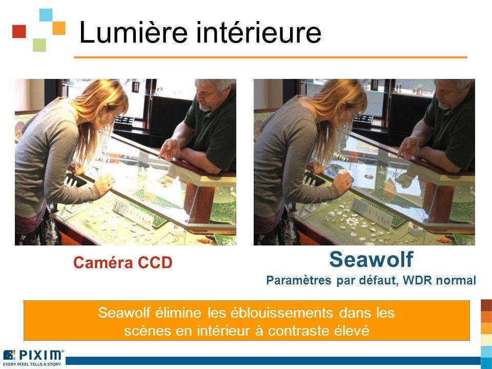 Lumière intérieure Seawolf élimine les éblouissements dans les scènes en intérieur à contraste élevé Caméra CCD Seawolf Paramètres par défaut, WDR normal