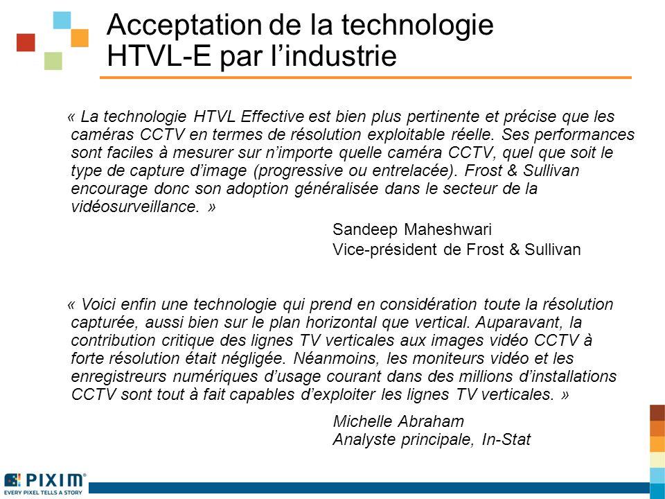 Acceptation de la technologie HTVL-E par lindustrie « La technologie HTVL Effective est bien plus pertinente et précise que les caméras CCTV en termes de résolution exploitable réelle.