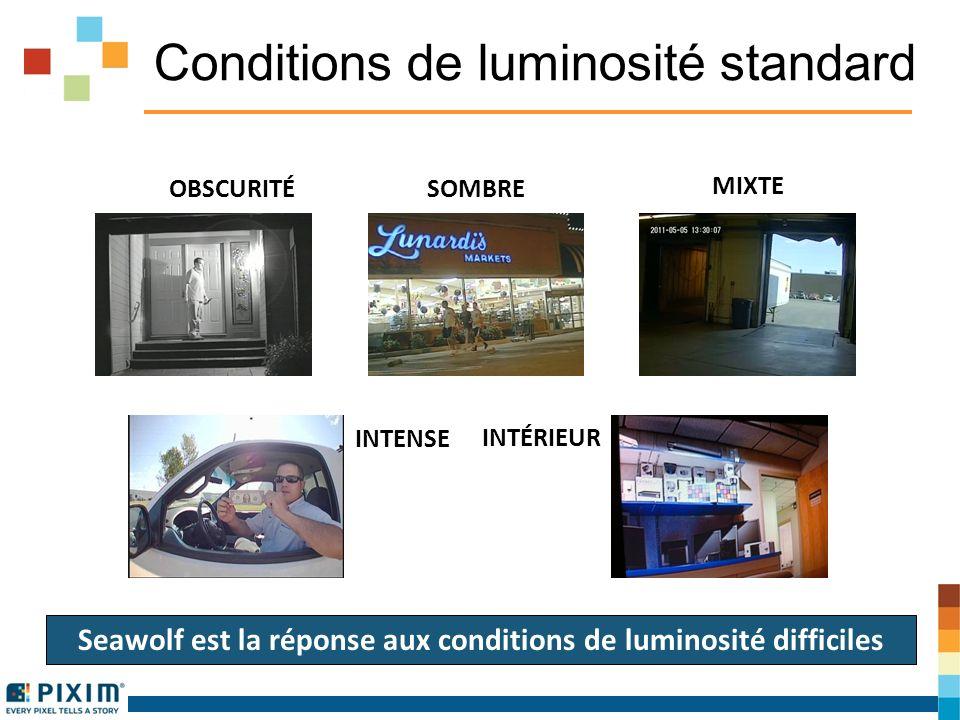 Conditions de luminosité standard OBSCURITÉ SOMBRE INTENSE INTÉRIEUR MIXTE Seawolf est la réponse aux conditions de luminosité difficiles