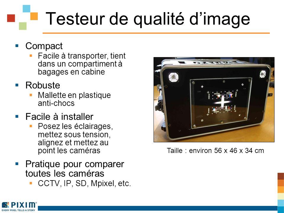Testeur de qualité dimage Compact Facile à transporter, tient dans un compartiment à bagages en cabine Robuste Mallette en plastique anti-chocs Facile à installer Posez les éclairages, mettez sous tension, alignez et mettez au point les caméras Pratique pour comparer toutes les caméras CCTV, IP, SD, Mpixel, etc.