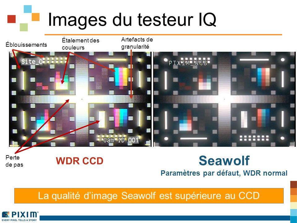 Images du testeur IQ La qualité dimage Seawolf est supérieure au CCD WDR CCD Seawolf Paramètres par défaut, WDR normal Éblouissements Étalement des couleurs Perte de pas Artefacts de granularité
