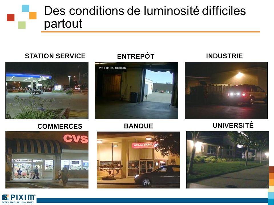 Des conditions de luminosité difficiles partout STATION SERVICE INDUSTRIE BANQUE COMMERCES ENTREPÔT UNIVERSITÉ