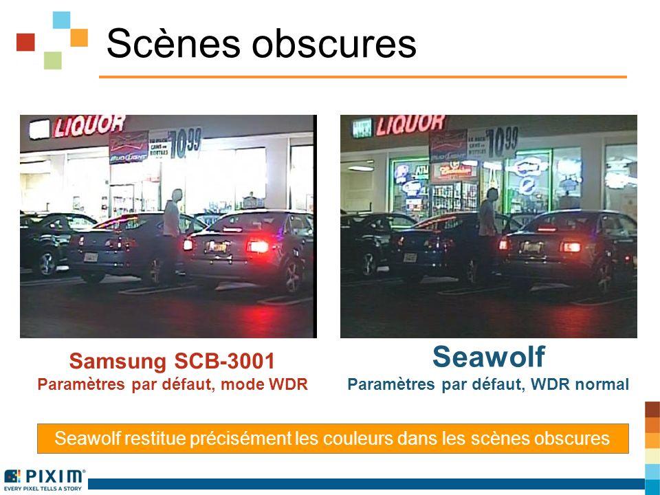 Scènes obscures Samsung SCB-3001 Paramètres par défaut, mode WDR Seawolf Paramètres par défaut, WDR normal Seawolf restitue précisément les couleurs dans les scènes obscures