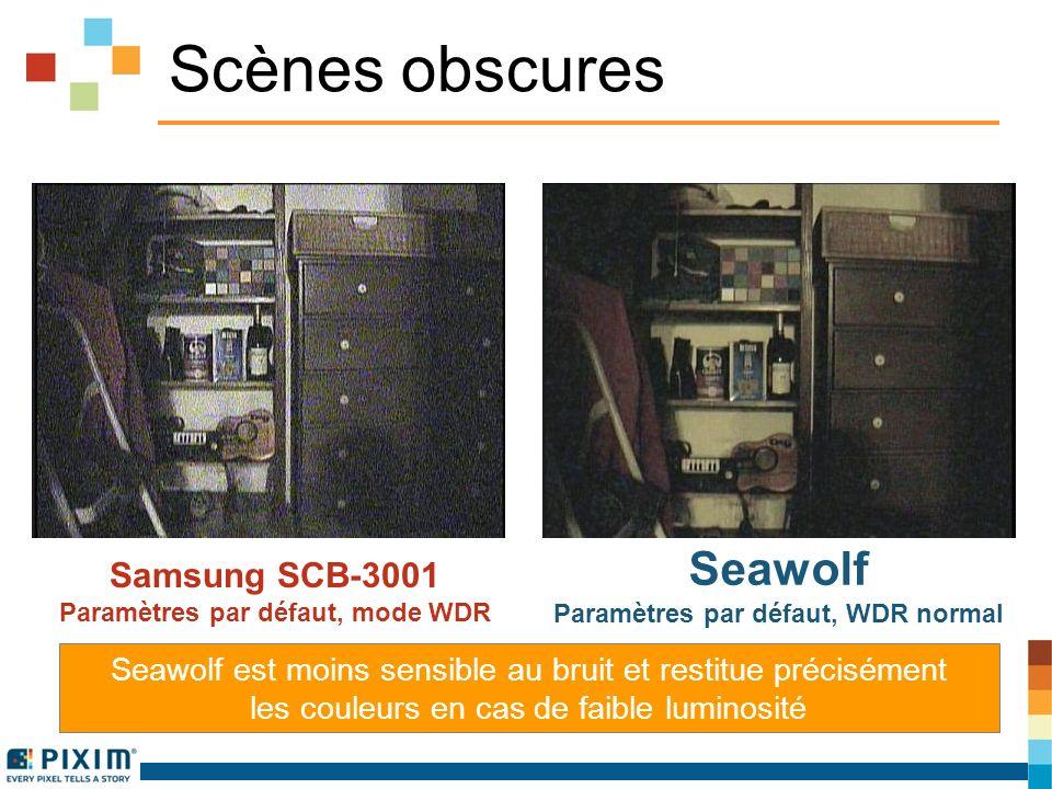 Scènes obscures Samsung SCB-3001 Paramètres par défaut, mode WDR Seawolf Paramètres par défaut, WDR normal Seawolf est moins sensible au bruit et restitue précisément les couleurs en cas de faible luminosité