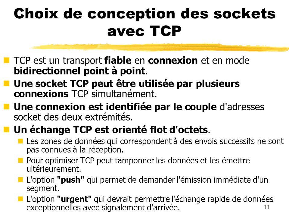 11 Choix de conception des sockets avec TCP nTCP est un transport fiable en connexion et en mode bidirectionnel point à point. nUne socket TCP peut êt