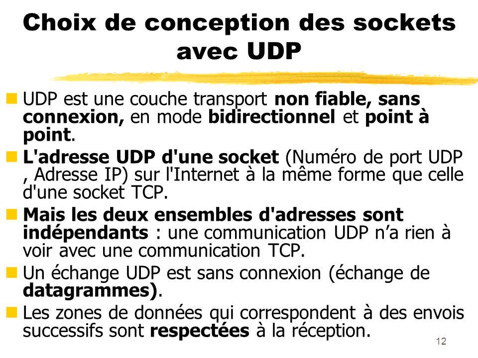 12 Choix de conception des sockets avec UDP nUDP est une couche transport non fiable, sans connexion, en mode bidirectionnel et point à point. nL'adre