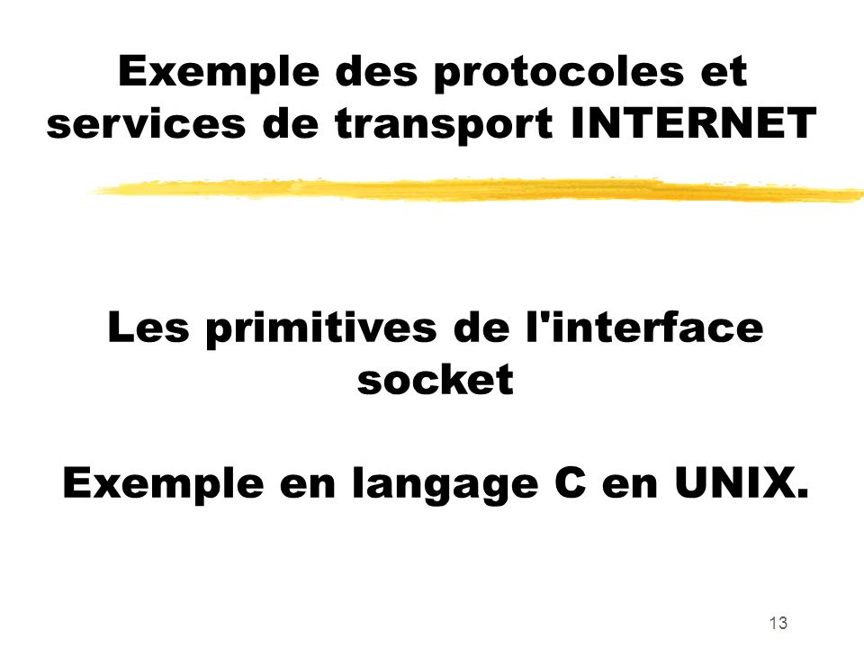 13 Exemple des protocoles et services de transport INTERNET Les primitives de l interface socket Exemple en langage C en UNIX.