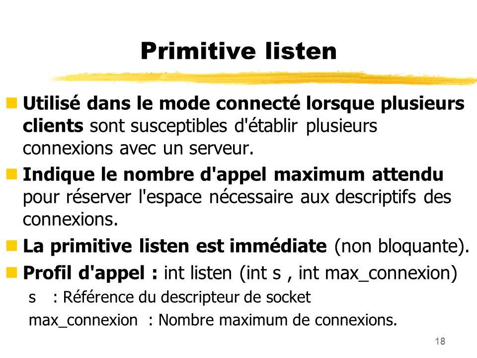 18 Primitive listen nUtilisé dans le mode connecté lorsque plusieurs clients sont susceptibles d'établir plusieurs connexions avec un serveur. nIndiqu