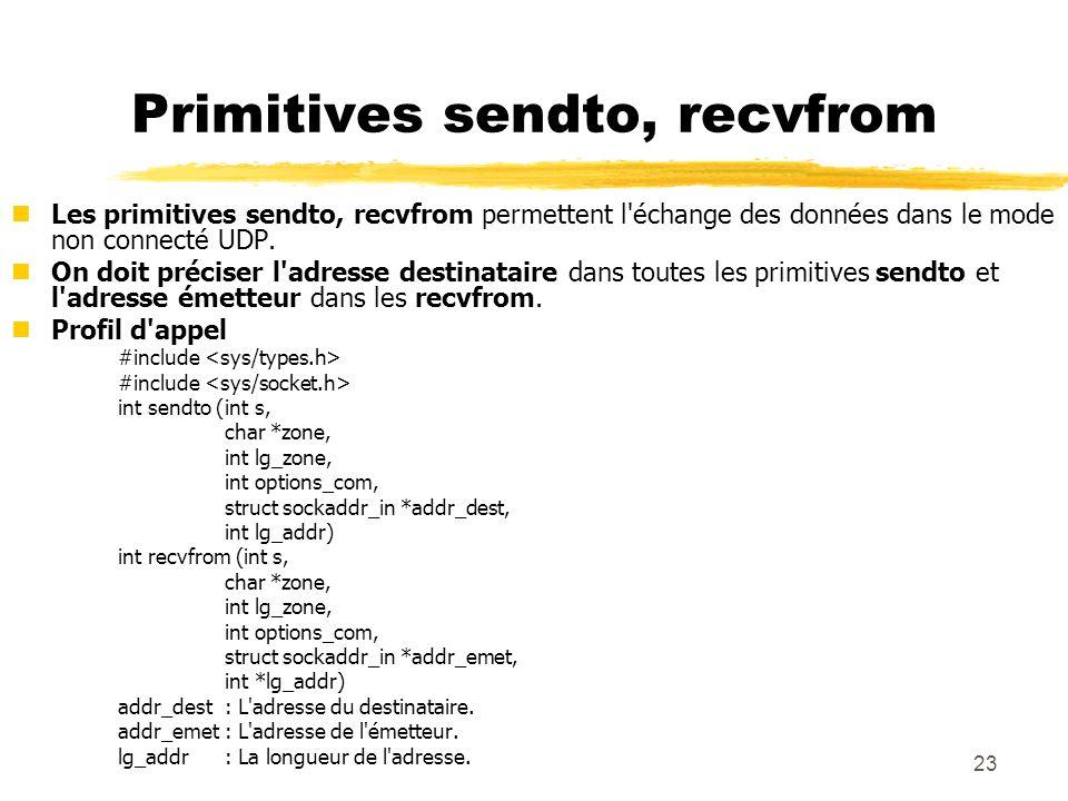 23 Primitives sendto, recvfrom nLes primitives sendto, recvfrom permettent l'échange des données dans le mode non connecté UDP. nOn doit préciser l'ad
