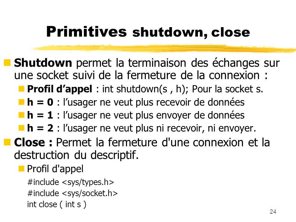 24 Primitives shutdown, close nShutdown permet la terminaison des échanges sur une socket suivi de la fermeture de la connexion : nProfil dappel : int