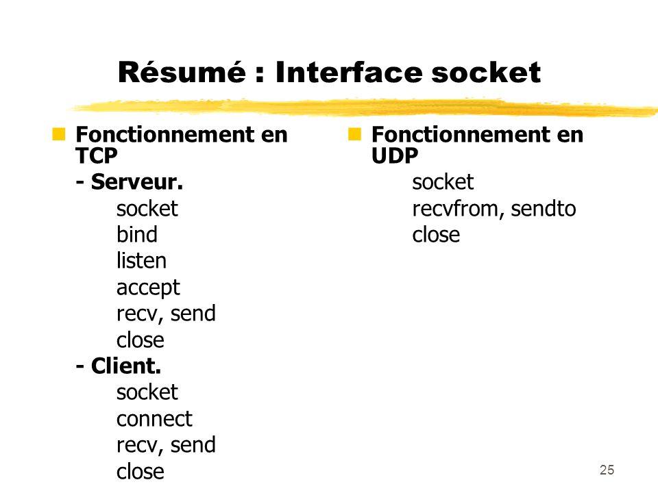 25 Résumé : Interface socket nFonctionnement en TCP - Serveur. socket bind listen accept recv, send close - Client. socket connect recv, send close nF