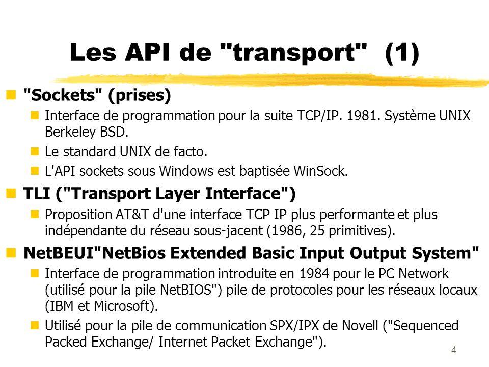 5 Les API de transport (2) nLes tubes nommés ( Named pipes ) nInterface d échange entre processus IPC ( InterProcessCommunication ) introduite sous UNIX BSD pour étendre la notion de tube.