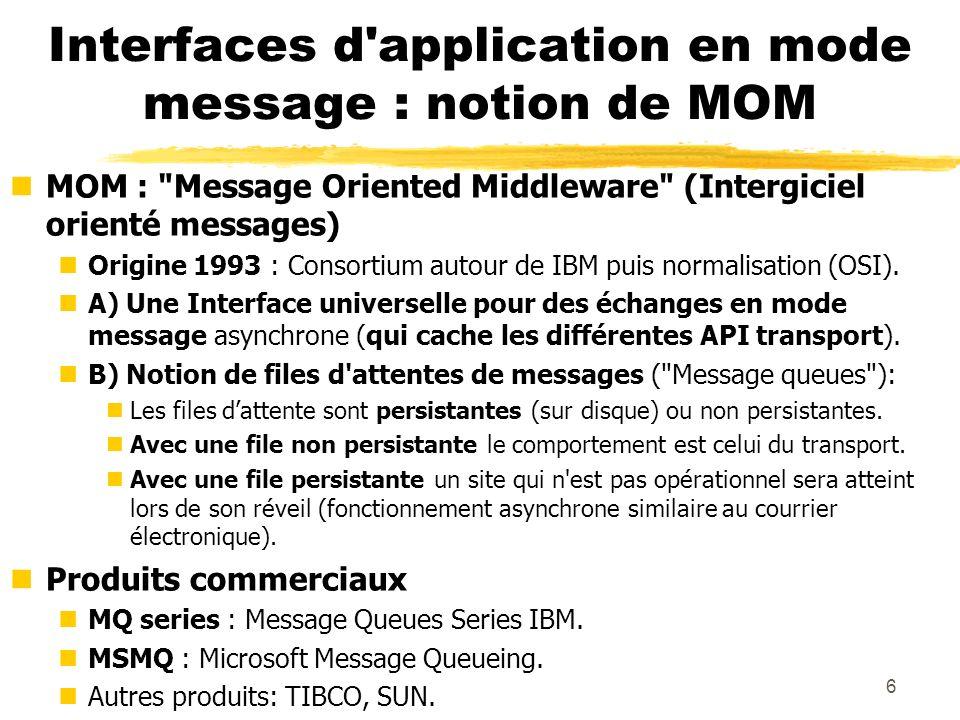 7 Interfaces en mode message asynchrone Exemple dun service pour TCP et UDP : les sockets Berkeley