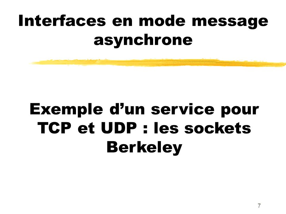 7 Interfaces en mode message asynchrone Exemple dun service pour TCP et UDP : les sockets Berkeley