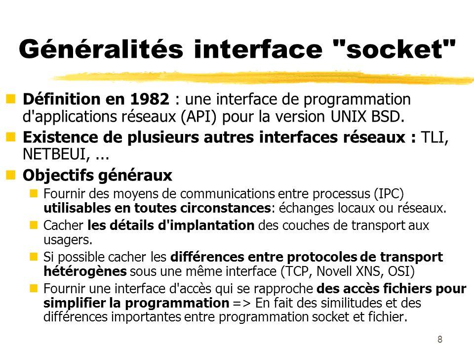 9 Choix de conception des sockets nUne socket (prise) est un point d accès de service pour des couches transport : essentiellement TCP/UDP mais aussi d autres protocoles (OSI, DECNET...).