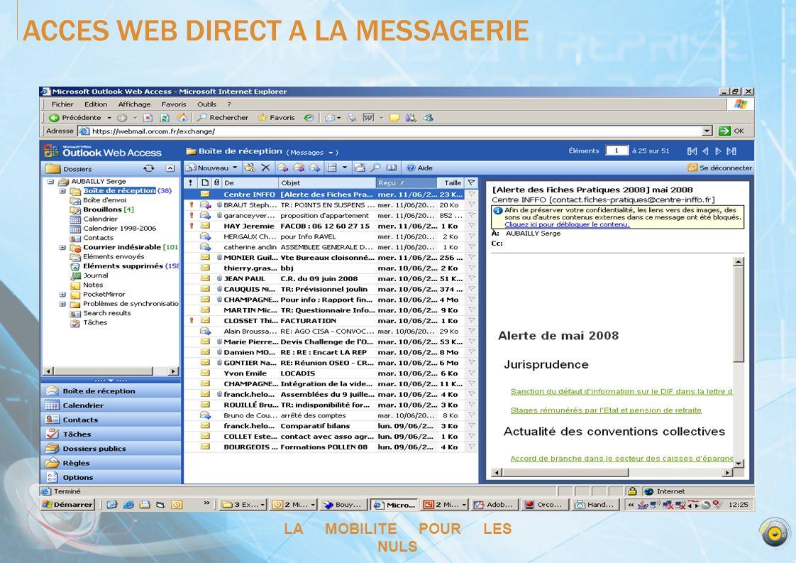 LA MOBILITE POUR LES NULS ACCES WEB DIRECT A LA MESSAGERIE