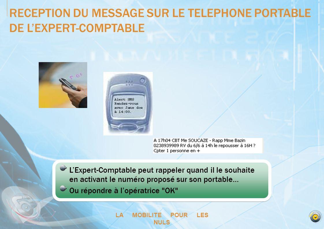 LA MOBILITE POUR LES NULS RECEPTION DU MESSAGE SUR LE TELEPHONE PORTABLE DE LEXPERT-COMPTABLE LExpert-Comptable peut rappeler quand il le souhaite en