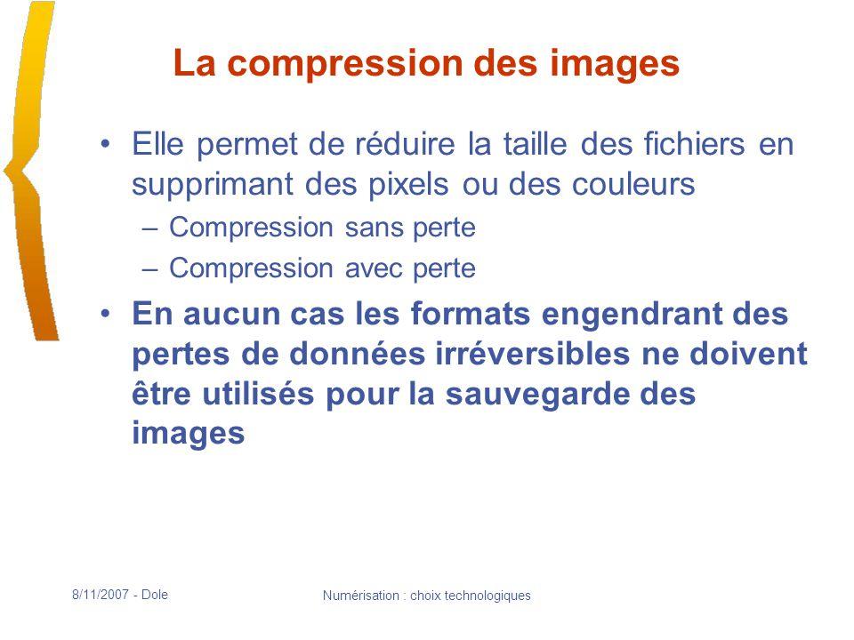 8/11/2007 - Dole Numérisation : choix technologiques La compression des images Elle permet de réduire la taille des fichiers en supprimant des pixels ou des couleurs –Compression sans perte –Compression avec perte En aucun cas les formats engendrant des pertes de données irréversibles ne doivent être utilisés pour la sauvegarde des images