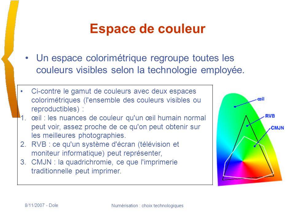 8/11/2007 - Dole Numérisation : choix technologiques Espace de couleur Un espace colorimétrique regroupe toutes les couleurs visibles selon la technologie employée.
