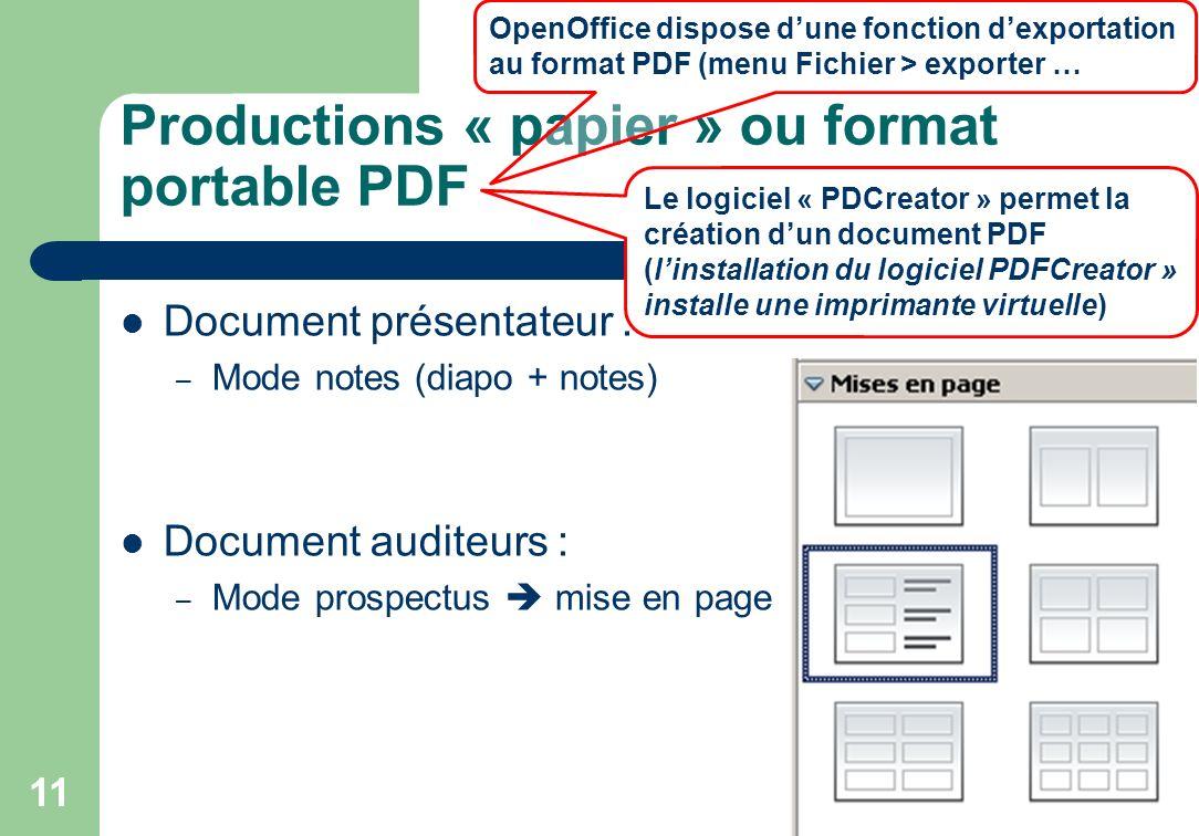 Productions « papier » ou format portable PDF Document présentateur : – Mode notes (diapo + notes) Document auditeurs : – Mode prospectus mise en page