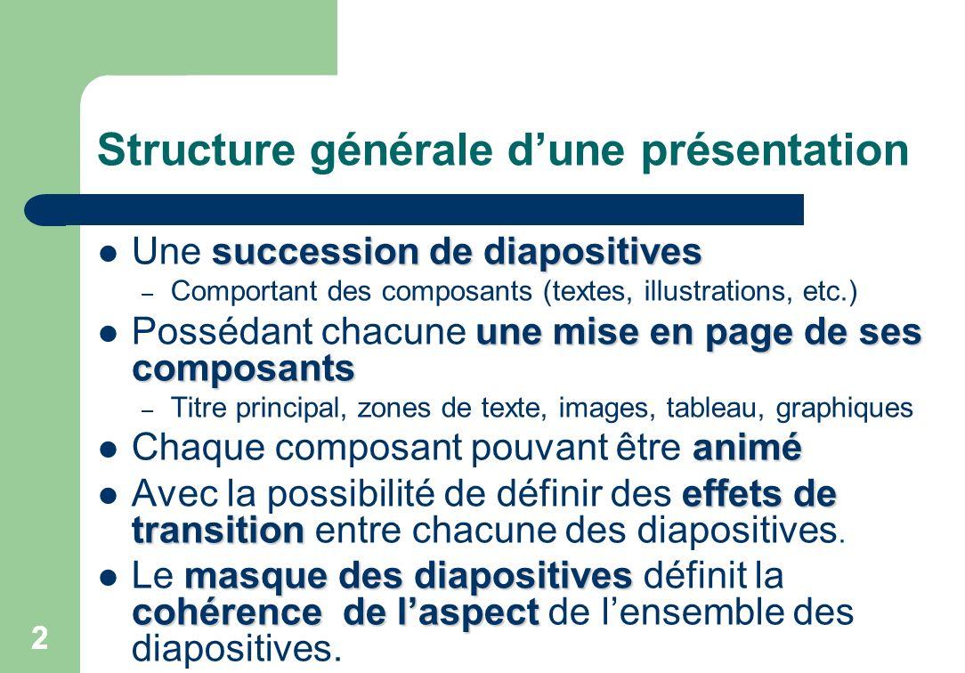 2 Structure générale dune présentation succession de diapositives Une succession de diapositives – Comportant des composants (textes, illustrations, e