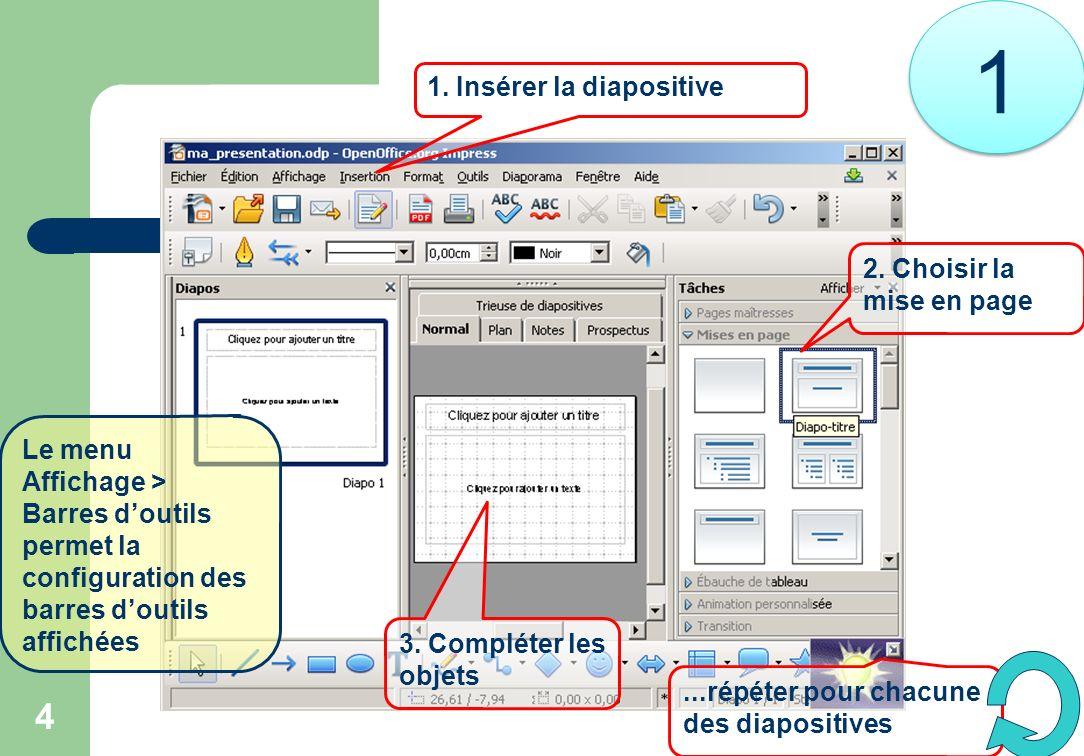 4 2. Choisir la mise en page 1. Insérer la diapositive 3. Compléter les objets...répéter pour chacune des diapositives Le menu Affichage > Barres dout