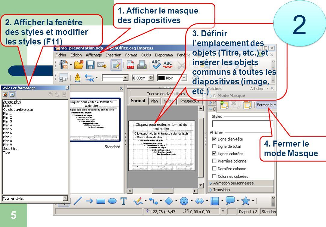 5 1. Afficher le masque des diapositives 2. Afficher la fenêtre des styles et modifier les styles (F11) 3. Définir lemplacement des objets (Titre, etc
