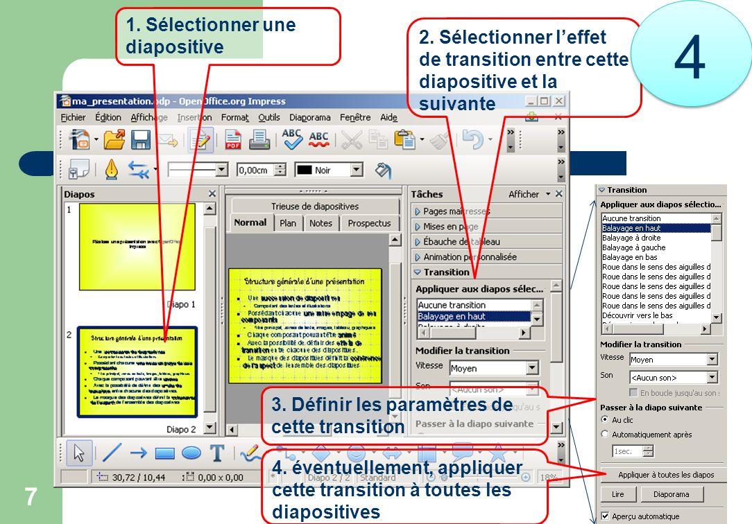 7 1. Sélectionner une diapositive 2. Sélectionner leffet de transition entre cette diapositive et la suivante 3. Définir les paramètres de cette trans