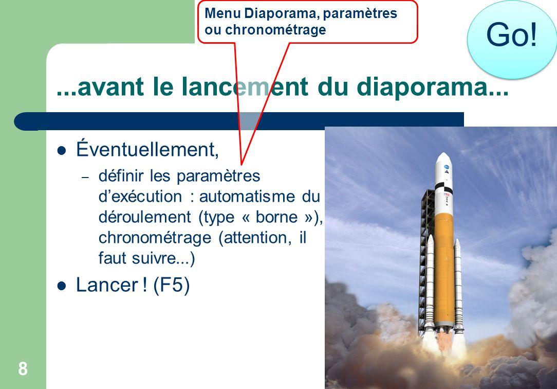 ...avant le lancement du diaporama... 8 Éventuellement, – définir les paramètres dexécution : automatisme du déroulement (type « borne »), chronométra