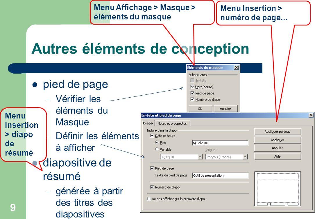 Autres éléments de conception pied de page – Vérifier les éléments du Masque – Définir les éléments à afficher diapositive de résumé – générée à parti