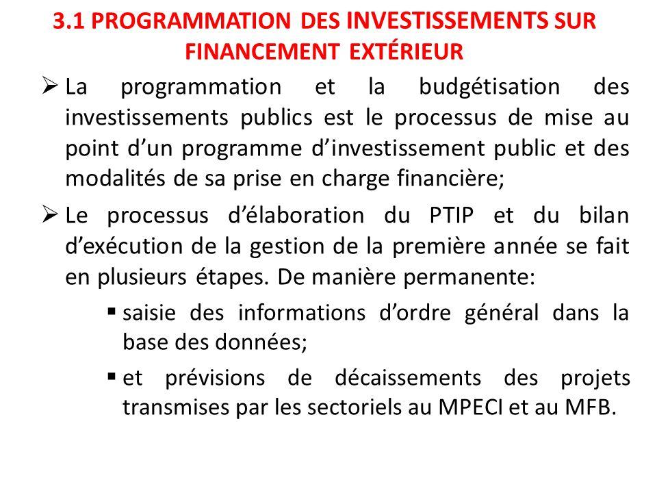 3.1 PROGRAMMATION DES INVESTISSEMENTS SUR FINANCEMENT EXTÉRIEUR La programmation et la budgétisation des investissements publics est le processus de m