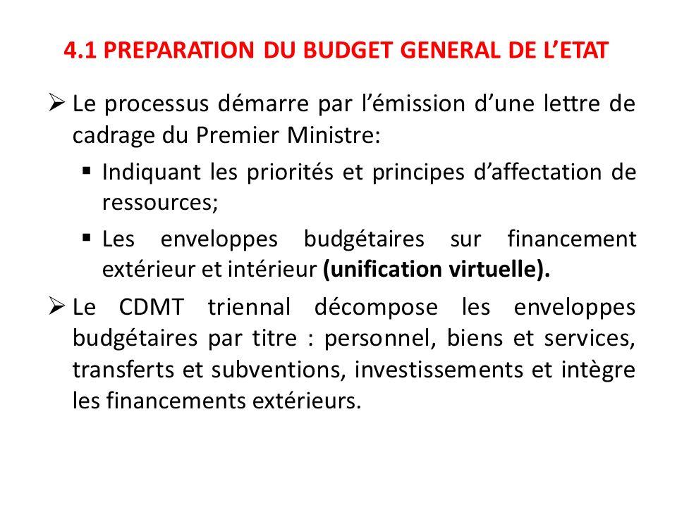 4.1 PREPARATION DU BUDGET GENERAL DE LETAT Le processus démarre par lémission dune lettre de cadrage du Premier Ministre: Indiquant les priorités et p
