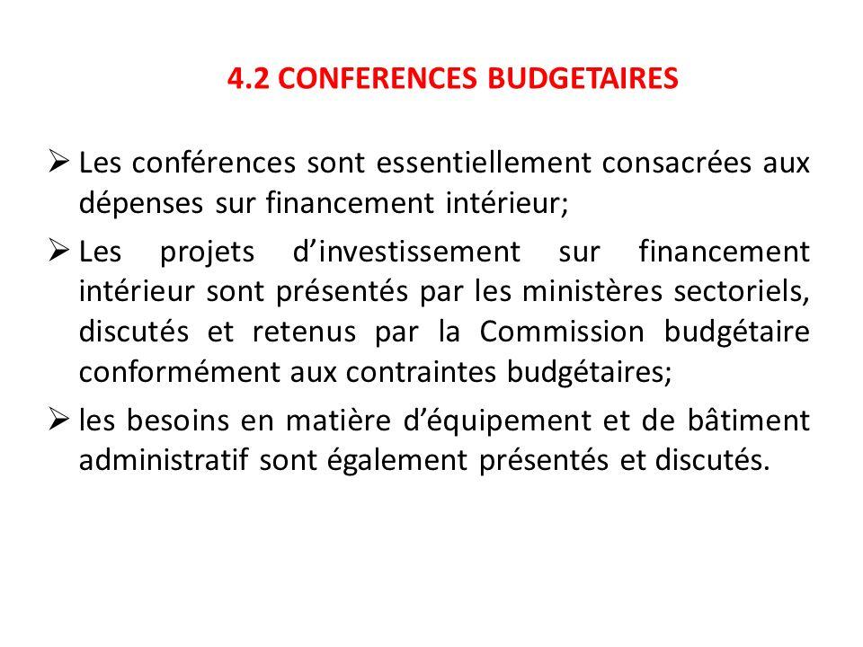 4.2 CONFERENCES BUDGETAIRES Les conférences sont essentiellement consacrées aux dépenses sur financement intérieur; Les projets dinvestissement sur fi