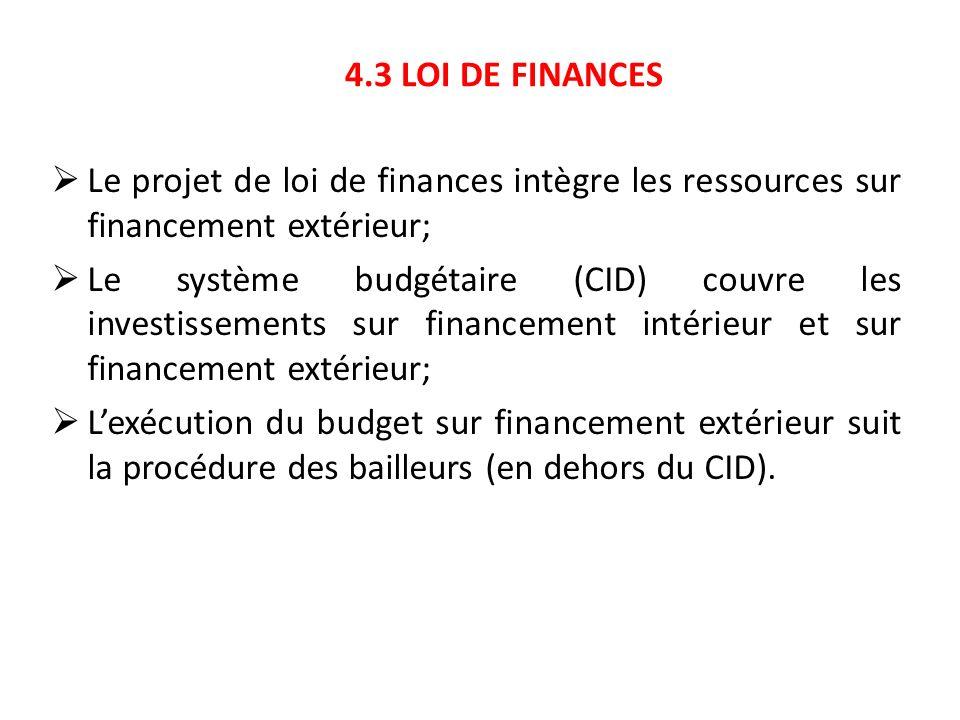 4.3 LOI DE FINANCES Le projet de loi de finances intègre les ressources sur financement extérieur; Le système budgétaire (CID) couvre les investisseme