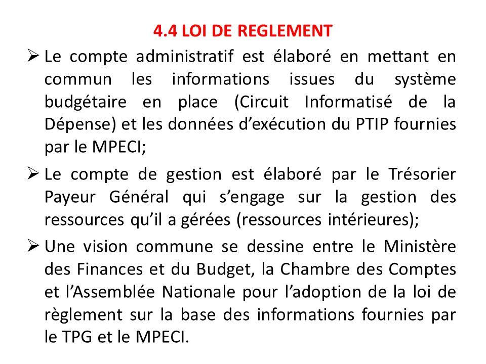 4.4 LOI DE REGLEMENT Le compte administratif est élaboré en mettant en commun les informations issues du système budgétaire en place (Circuit Informat