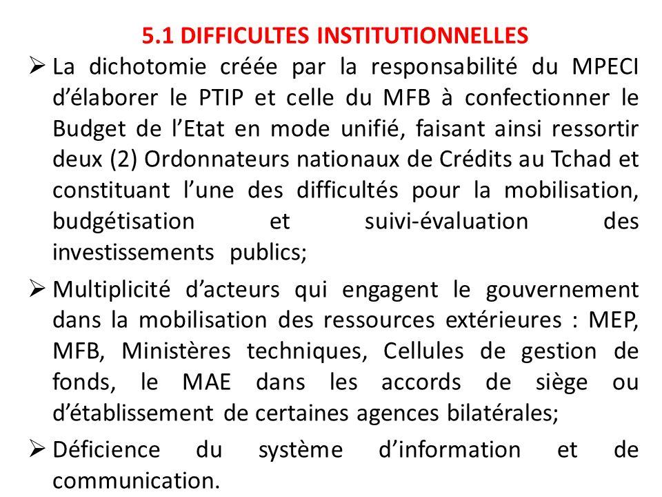 5.1 DIFFICULTES INSTITUTIONNELLES La dichotomie créée par la responsabilité du MPECI délaborer le PTIP et celle du MFB à confectionner le Budget de lE