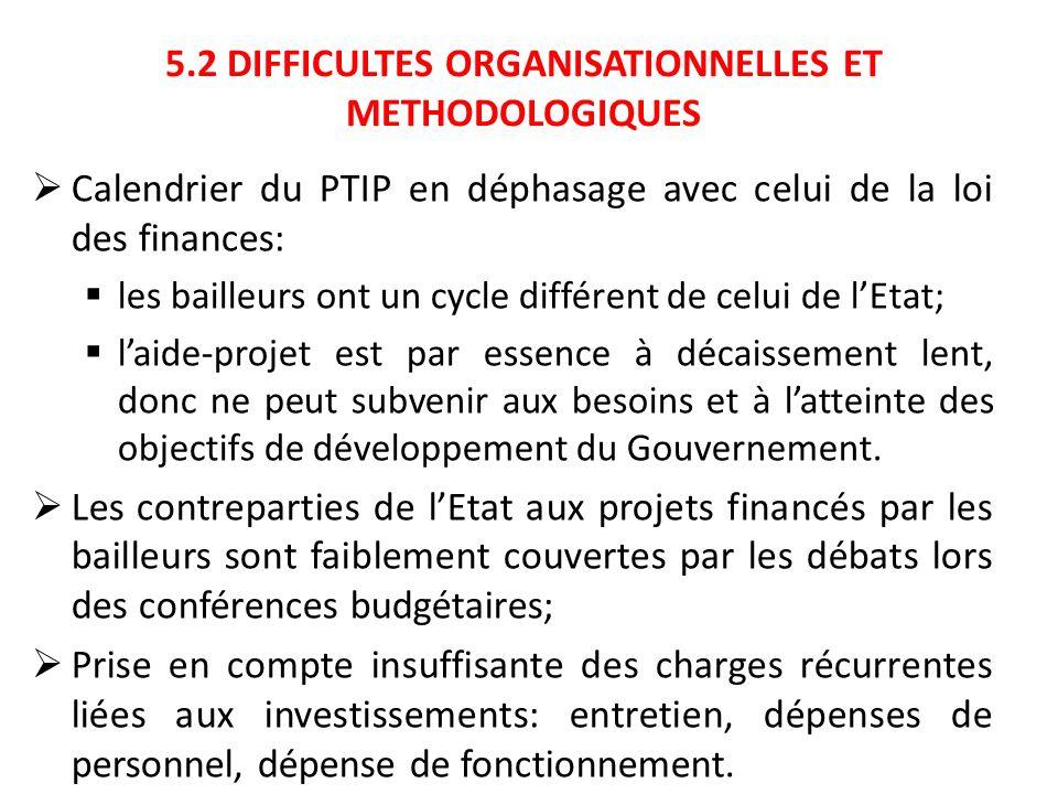 5.2 DIFFICULTES ORGANISATIONNELLES ET METHODOLOGIQUES Calendrier du PTIP en déphasage avec celui de la loi des finances: les bailleurs ont un cycle di
