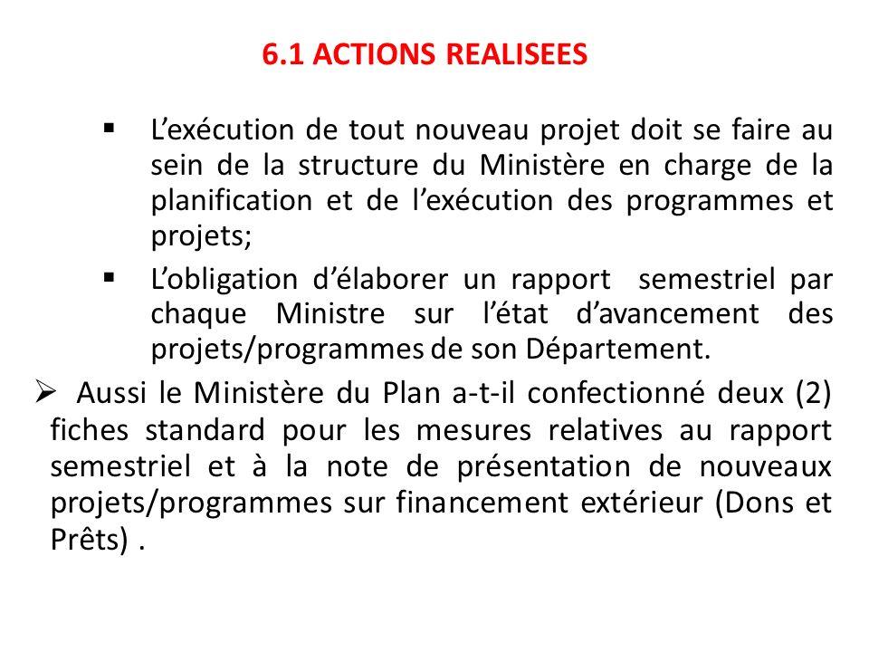6.1 ACTIONS REALISEES Lexécution de tout nouveau projet doit se faire au sein de la structure du Ministère en charge de la planification et de lexécut