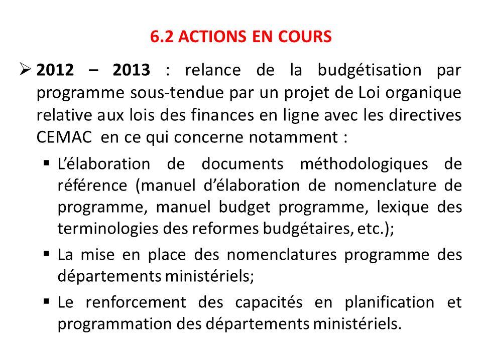 6.2 ACTIONS EN COURS 2012 – 2013 : relance de la budgétisation par programme sous-tendue par un projet de Loi organique relative aux lois des finances