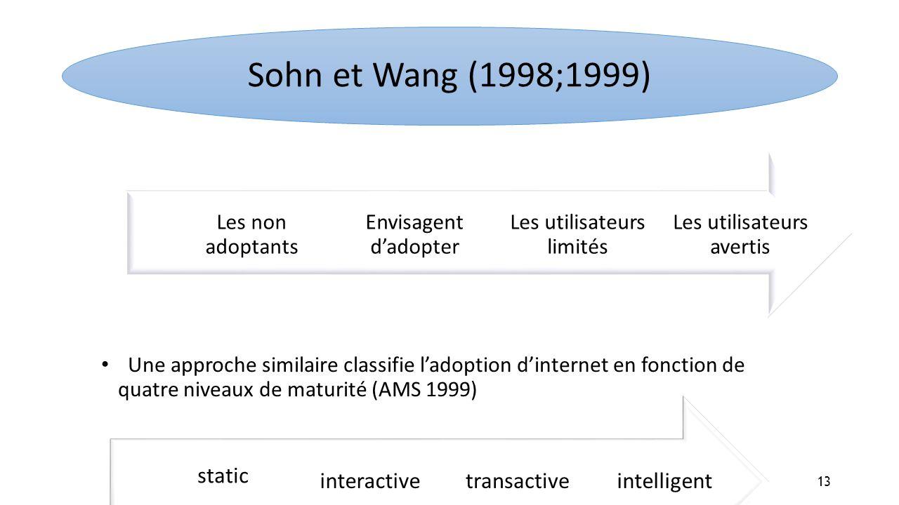 Une approche similaire classifie ladoption dinternet en fonction de quatre niveaux de maturité (AMS 1999) Les utilisateurs avertis Les utilisateurs li
