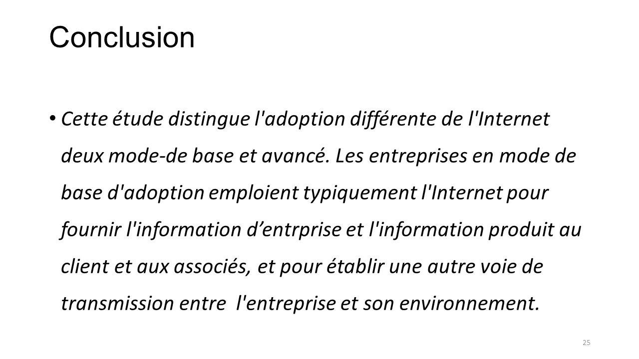 Conclusion Cette étude distingue l'adoption différente de l'Internet deux mode-de base et avancé. Les entreprises en mode de base d'adoption emploient