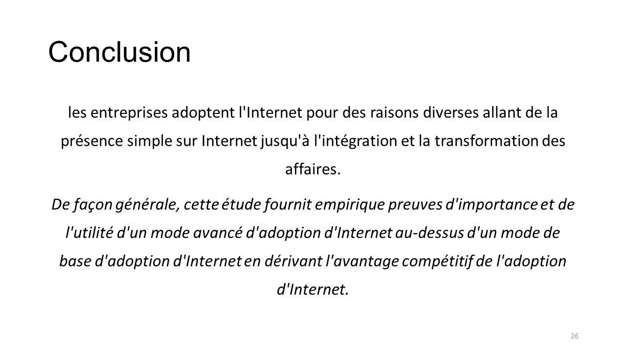 Conclusion les entreprises adoptent l'Internet pour des raisons diverses allant de la présence simple sur Internet jusqu'à l'intégration et la transfo
