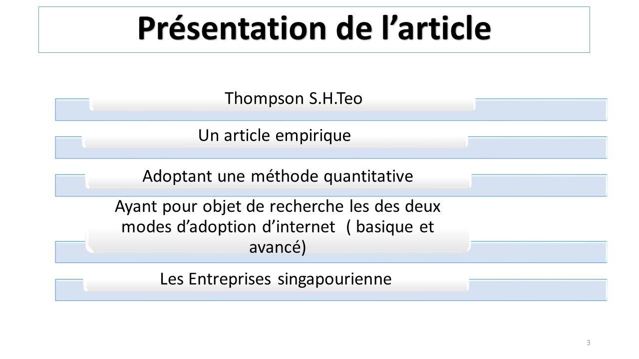 Teo & Pian (2003) Level 0 No Web site, seulement compt e-mail: une enterprise qui a un compte e-mail, mais n a pas de site Web Level 1 Internet presence: A ce niveau, lentreprises a pris la décision d adoption, mais la mise en œuvre est toujours en cours Level 2 Prospecting:un usage limité de l Internet.