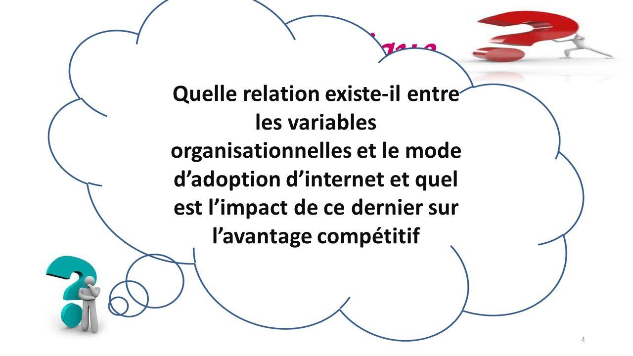 Problématique Quelle relation existe-il entre les variables organisationnelles et le mode dadoption dinternet et quel est limpact de ce dernier sur la