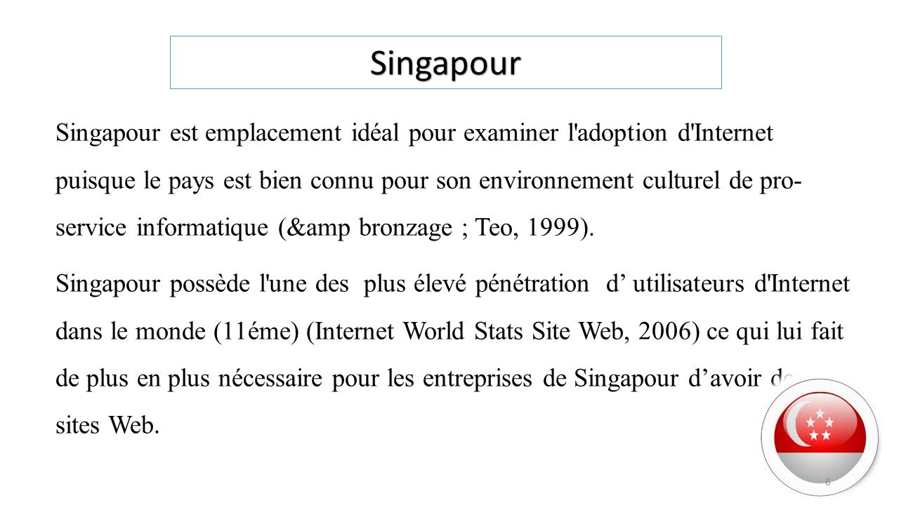 Singapour est emplacement idéal pour examiner l'adoption d'Internet puisque le pays est bien connu pour son environnement culturel de pro- service inf
