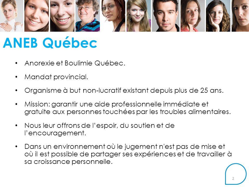 ANEB Québec Anorexie et Boulimie Québec.Mandat provincial.