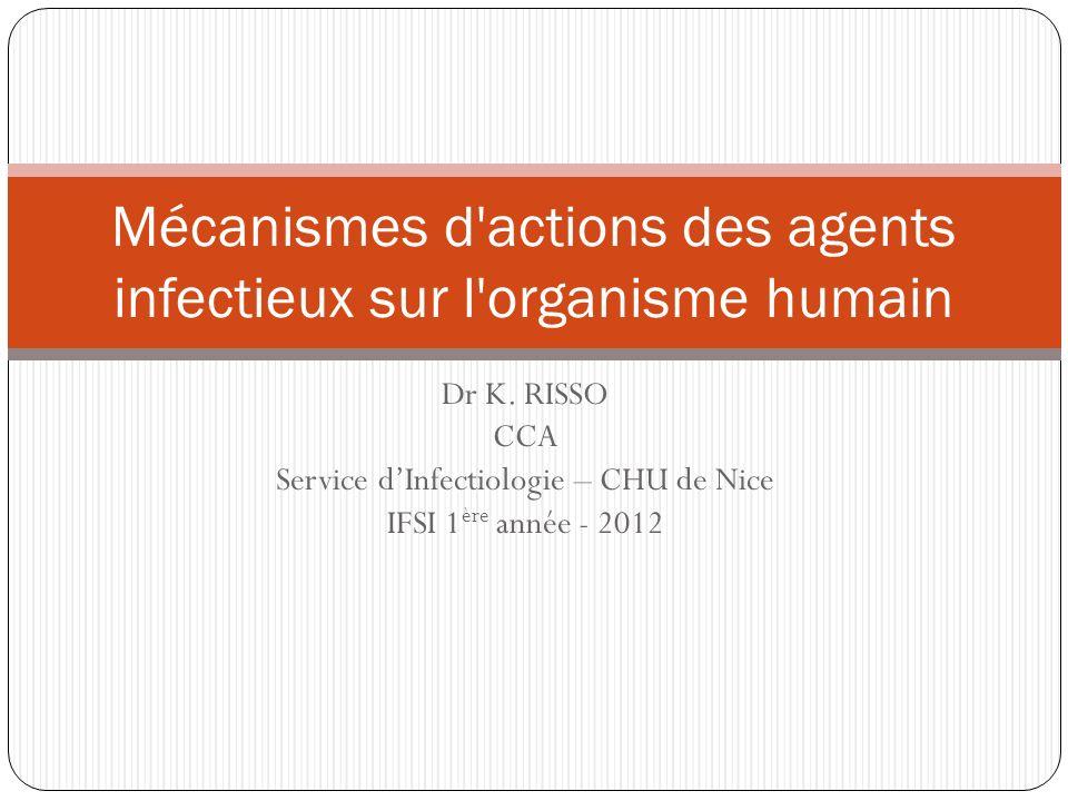 Dr K. RISSO CCA Service dInfectiologie – CHU de Nice IFSI 1 ère année - 2012 Mécanismes d'actions des agents infectieux sur l'organisme humain