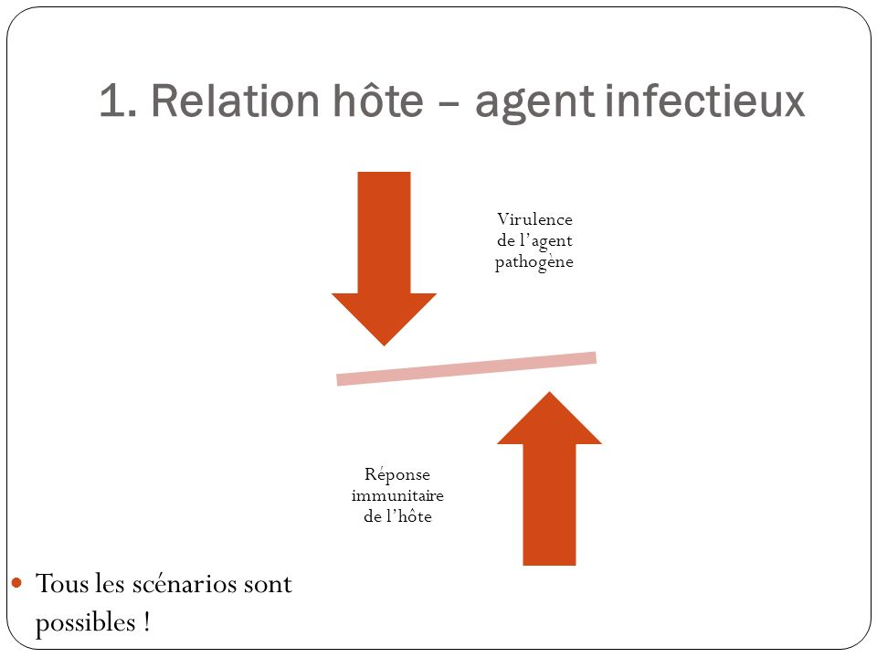 Agents infectieux Saprophytes : isolés sur la peau ou les muqueuses, sans pathogénicité (staphylocoque blanc sur la peau, anaérobies dans la bouche…) Commensaux, qui se développent sans pathogénicité chez lhôte en y assurant une fonction (anaérobies dans la digestion…) Opportunistes, qui deviennent pathogènes en cas dimmunodépression (toxoplasmose, HSV…) Et tous les autres, pathogènes ou non pour lhomme