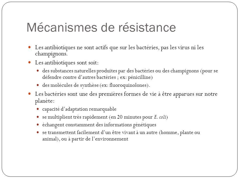 Mécanismes de résistance Les antibiotiques ne sont actifs que sur les bactéries, pas les virus ni les champignons. Les antibiotiques sont soit: des su